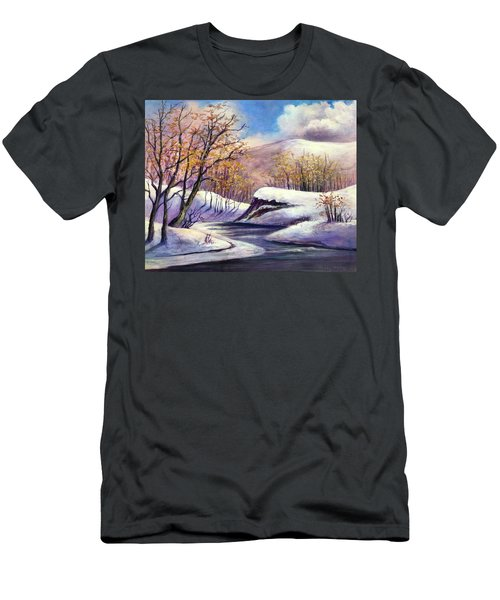 Men's T-Shirt (Slim Fit) featuring the painting Winter In The Garden Of Eden by Randol Burns