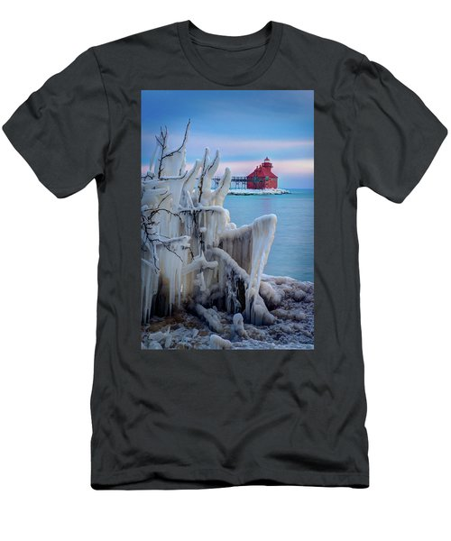 Winter Lighthouse Men's T-Shirt (Athletic Fit)