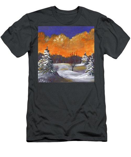 Men's T-Shirt (Athletic Fit) featuring the painting Winter Nightfall #1 by Anastasiya Malakhova
