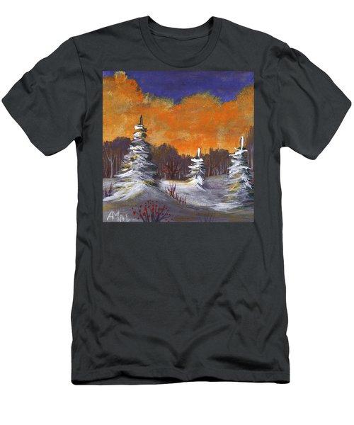Men's T-Shirt (Athletic Fit) featuring the painting Winter Nightfall #2 by Anastasiya Malakhova
