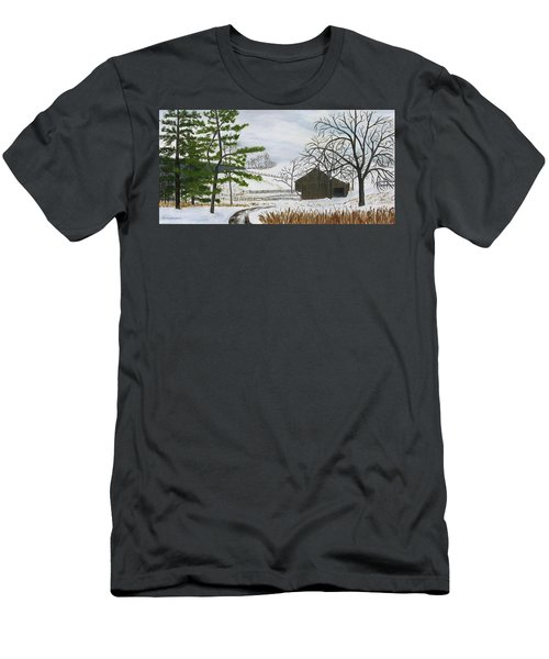 Winter On Hill Crystal Farm Men's T-Shirt (Athletic Fit)