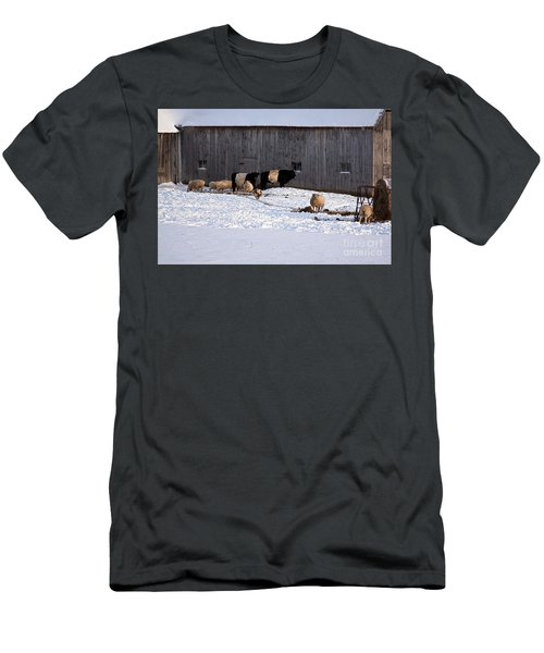 Men's T-Shirt (Athletic Fit) featuring the photograph Winter Sunny Day At The Farm by Tatiana Travelways