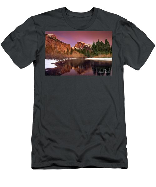 Winter Sunset Lights Up Half Dome Yosemite National Park Men's T-Shirt (Athletic Fit)