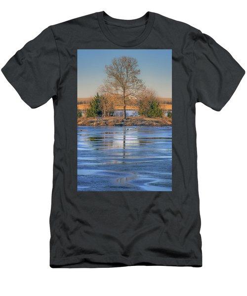 Men's T-Shirt (Slim Fit) featuring the photograph Winter Tree - Walnut Creek Lake by Nikolyn McDonald