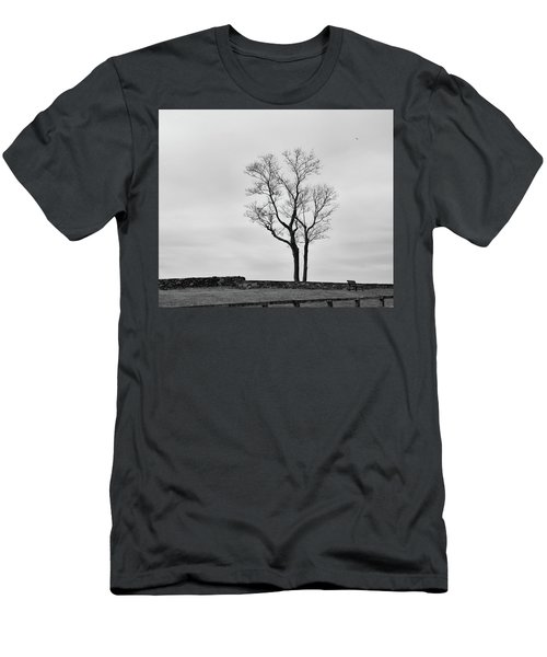 Winter Trees And Fences Men's T-Shirt (Slim Fit) by Nancy De Flon