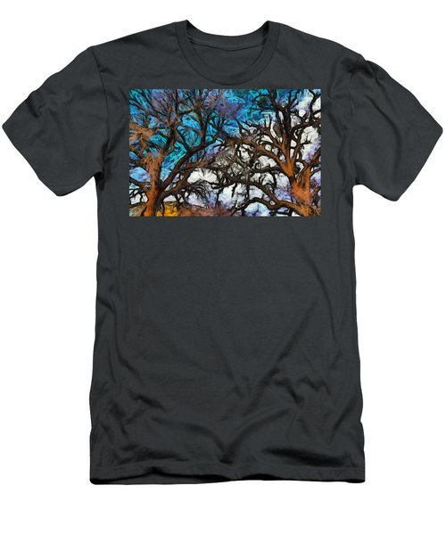 Men's T-Shirt (Slim Fit) featuring the photograph Winter Trees At Fort Tejon Lebec California Abstract by Floyd Snyder