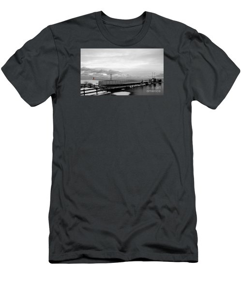 Men's T-Shirt (Slim Fit) featuring the photograph Winter's Icy Grip On Lighthouse Ann Arbor Park by Mark J Seefeldt