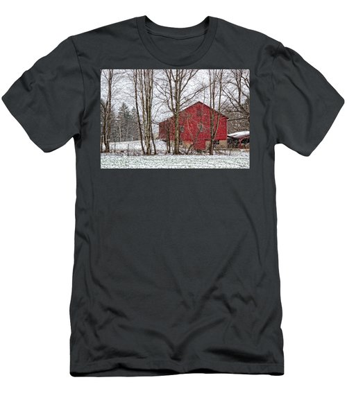 Men's T-Shirt (Slim Fit) featuring the photograph Wintry Barn by Skip Tribby