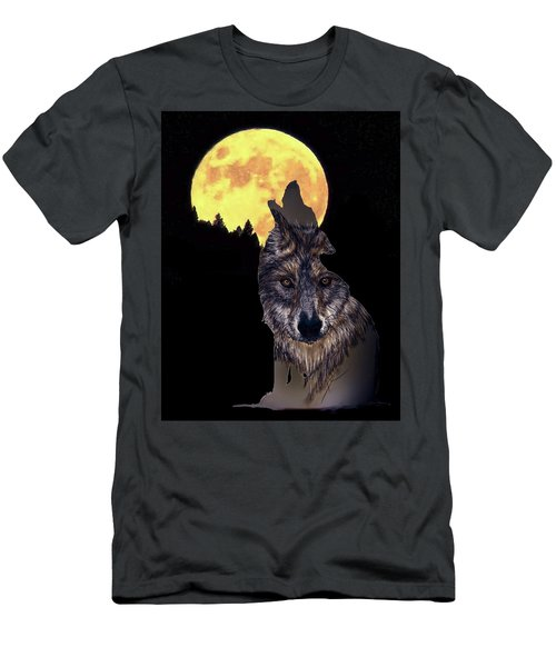 Wolf Howling At The Moon Men's T-Shirt (Athletic Fit)