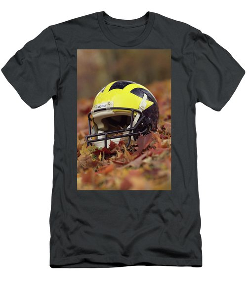 Wolverine Helmet In October Leaves Men's T-Shirt (Athletic Fit)