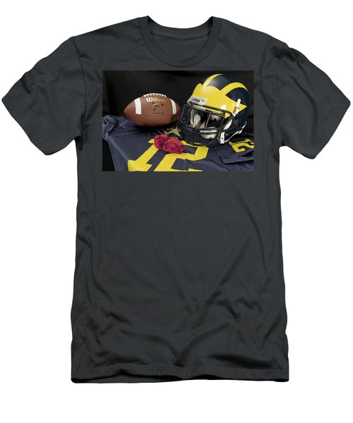 Wolverine Helmet With Roses, Jersey, And Football Men's T-Shirt (Athletic Fit)
