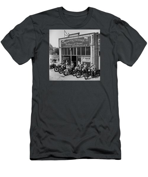 Men's T-Shirt (Slim Fit) featuring the photograph The Motor Maids Of America Outside The Shop They Used As Their Headquarters, 1950. by Lawrence Christopher
