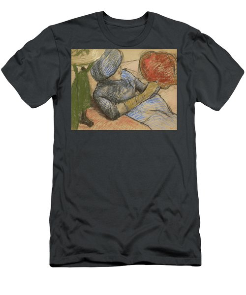 Woman Holding A Hat In Her Hand Men's T-Shirt (Athletic Fit)