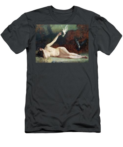 Woman With Pigeons Men's T-Shirt (Slim Fit) by Ernst Philippe Zacharie