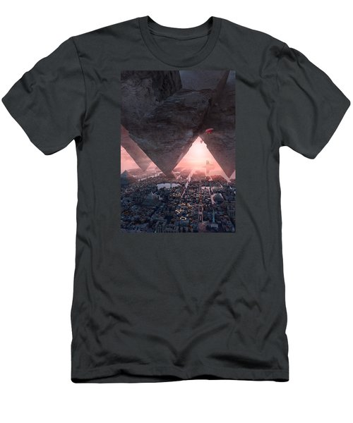 Men's T-Shirt (Slim Fit) featuring the digital art wonders great pyrimaid of Giza by Te Hu