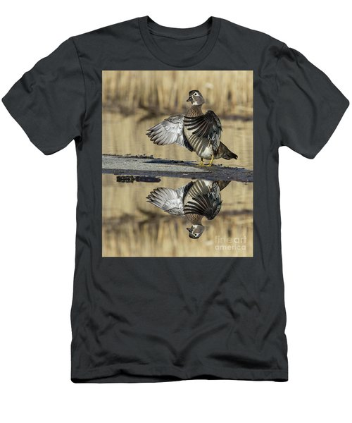 Men's T-Shirt (Slim Fit) featuring the photograph Wood Duck Reflection by Mircea Costina Photography