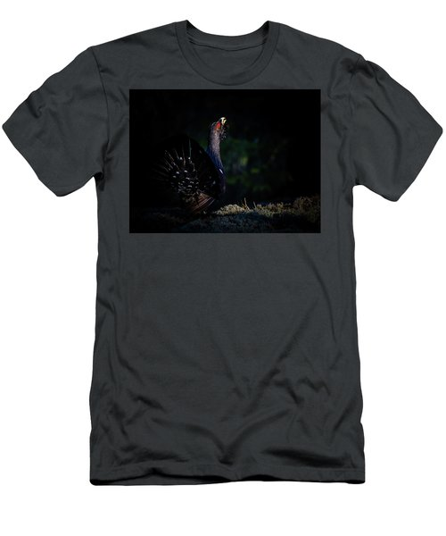 Men's T-Shirt (Slim Fit) featuring the photograph Wood Grouse's Sunbeam by Torbjorn Swenelius