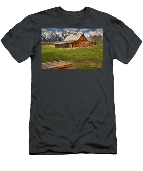Wooden Bridge To The Wooden Barn Men's T-Shirt (Slim Fit) by Adam Jewell