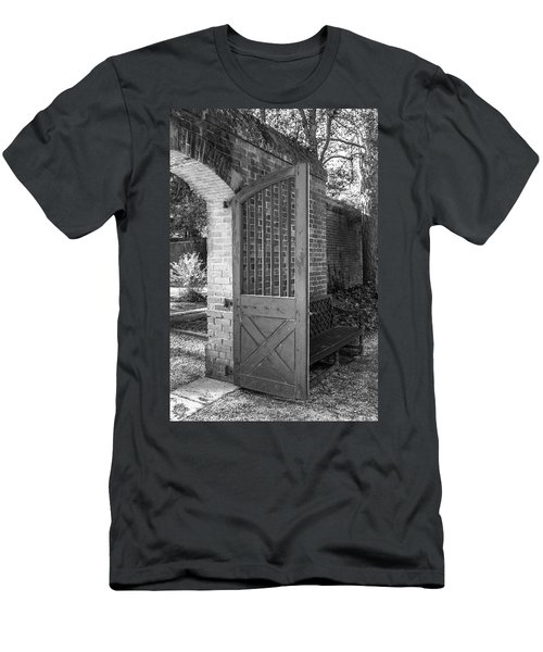 Wooden Garden Door B W Men's T-Shirt (Athletic Fit)