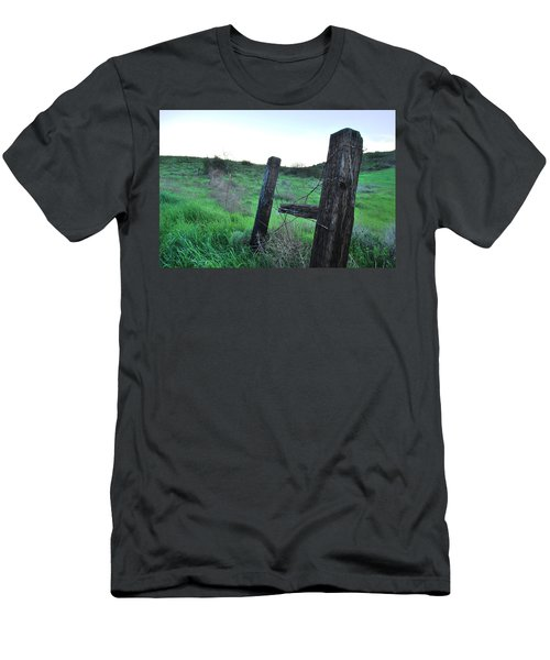 Men's T-Shirt (Athletic Fit) featuring the photograph Wooden Gate In Field by Matt Harang