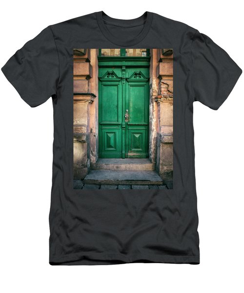 Wooden Ornamented Gate In Green Color Men's T-Shirt (Slim Fit) by Jaroslaw Blaminsky