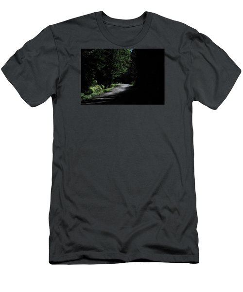 Woods, Road And The Darkness Men's T-Shirt (Slim Fit) by John Rossman