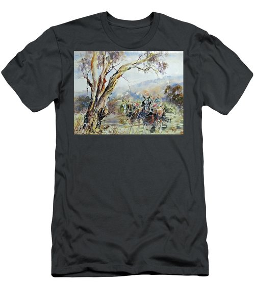 Men's T-Shirt (Athletic Fit) featuring the painting Working Clydesdale Pair, Australian Landscape. by Ryn Shell