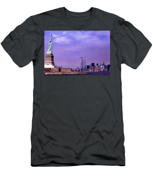 World Trade Center Twin Towers And The Statue Of Liberty  Men's T-Shirt (Athletic Fit)