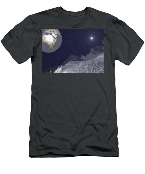 Men's T-Shirt (Slim Fit) featuring the digital art 1657 - Worlds - 2017 by Irmgard Schoendorf Welch