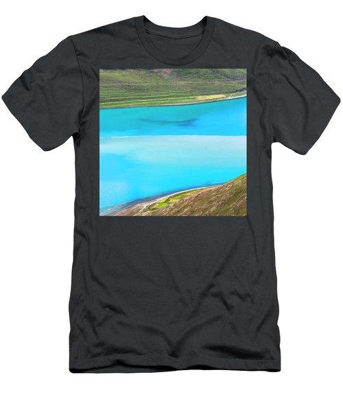 Yamdrok Abstract 1, Tibet, 2007 Men's T-Shirt (Slim Fit) by Hitendra SINKAR