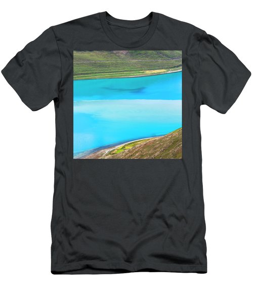 Men's T-Shirt (Athletic Fit) featuring the photograph Yamdrok Abstract 1, Tibet, 2007 by Hitendra SINKAR