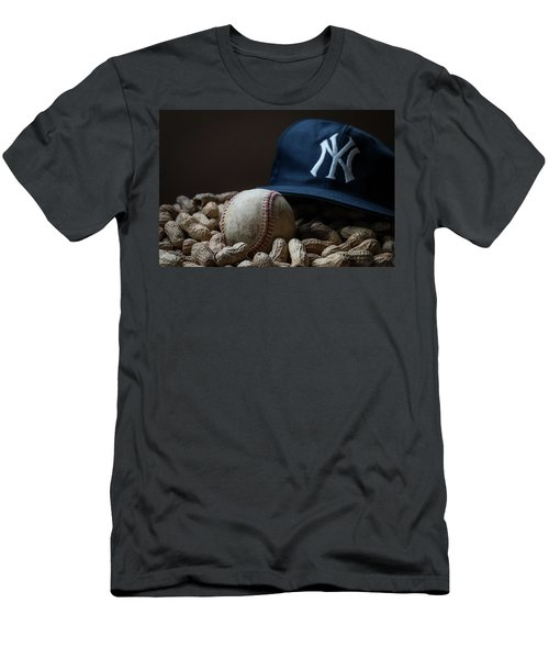 Men's T-Shirt (Slim Fit) featuring the photograph Yankee Cap Baseball And Peanuts by Terry DeLuco