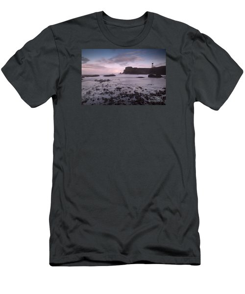 Yaquina Head Lighthouse Men's T-Shirt (Slim Fit) by Keith Kapple