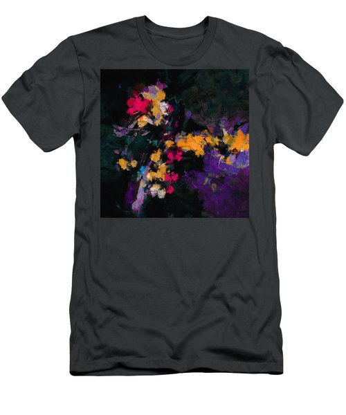 Men's T-Shirt (Slim Fit) featuring the painting Yellow And Purple Abstract / Modern Painting by Ayse Deniz