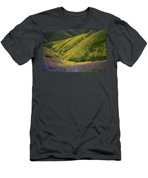 Yellow And Purple Wildlflowers Adourn The Temblor Range At Carrizo Plain National Monument Men's T-Shirt (Athletic Fit)