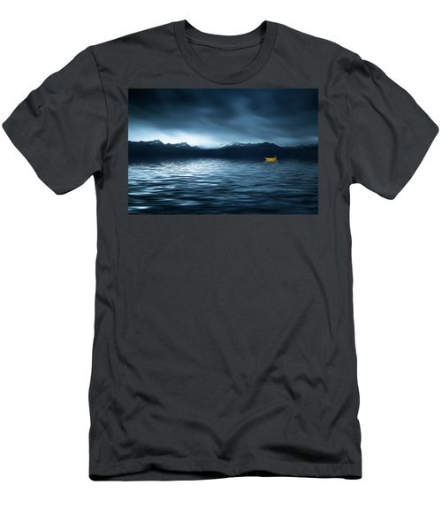 Men's T-Shirt (Slim Fit) featuring the photograph Yellow Boat by Bess Hamiti