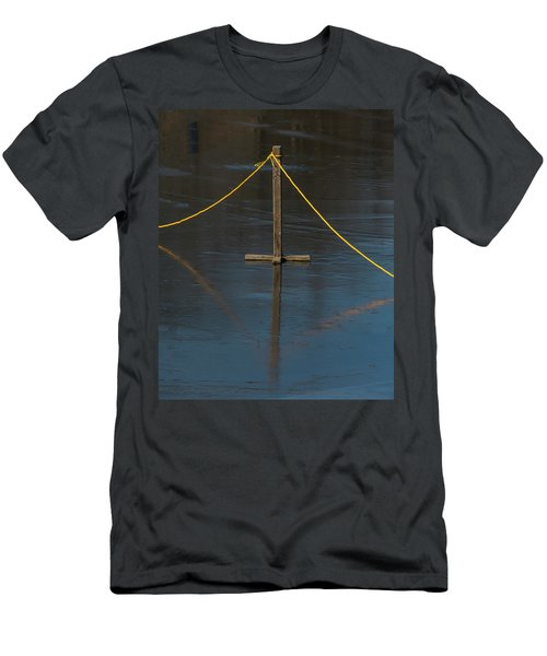 Men's T-Shirt (Athletic Fit) featuring the photograph Yellow Boundary On Ice by Gary Slawsky