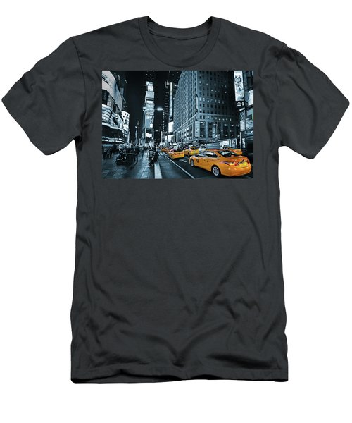 Yellow Broadway At Night - Nyc Men's T-Shirt (Athletic Fit)
