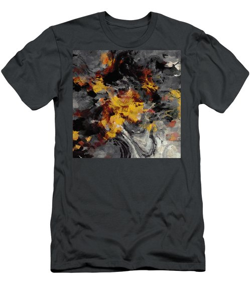 Men's T-Shirt (Slim Fit) featuring the painting Yellow / Golden Abstract / Surrealist Landscape Painting by Ayse Deniz