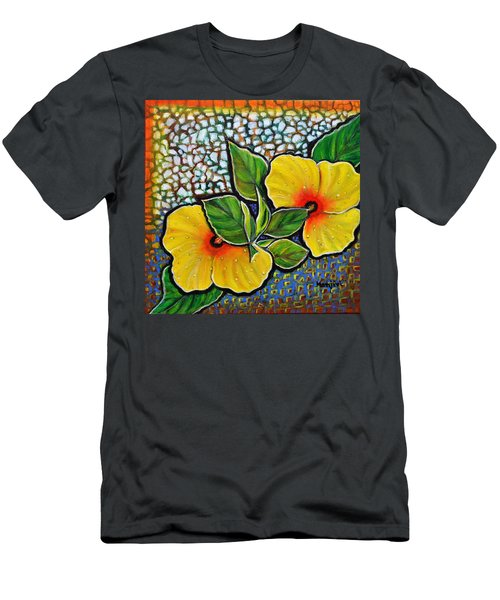 Yellow Hibiscus A Decorative Painting With Mosaic Style On Sale Men's T-Shirt (Athletic Fit)