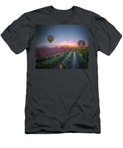 Men's T-Shirt (Athletic Fit) featuring the photograph Yellow Hot Air Balloon Over Tulip Field In The Morning Tranquili by William Lee
