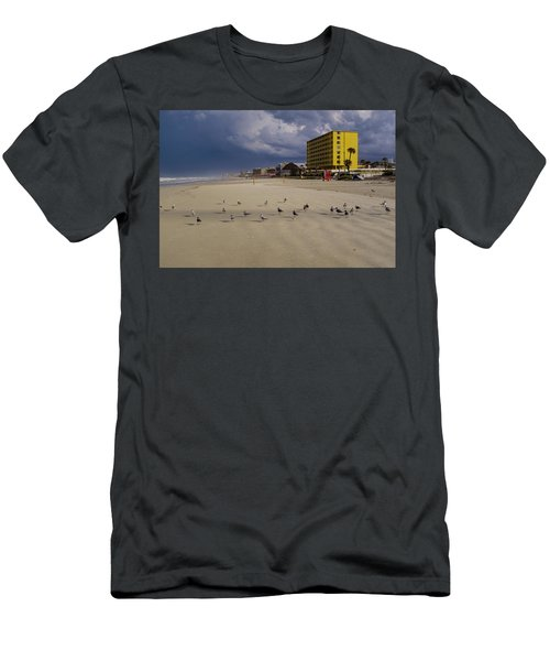 Yellow Hotel Blue Sky And Birds On Daytona Beach Florida Men's T-Shirt (Athletic Fit)