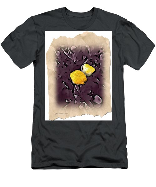 Men's T-Shirt (Slim Fit) featuring the photograph Yellow In Purple by Joan  Minchak