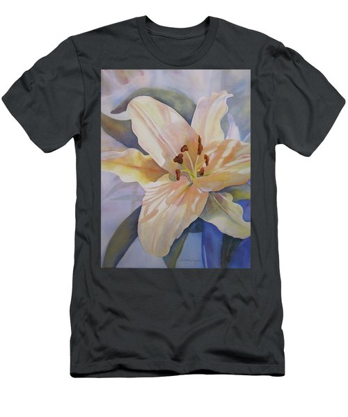 Men's T-Shirt (Slim Fit) featuring the painting Yellow Lily by Teresa Beyer