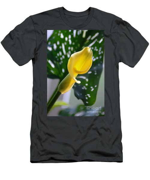 Men's T-Shirt (Athletic Fit) featuring the photograph Yellow Mini Calla Lilies by Donna Bentley
