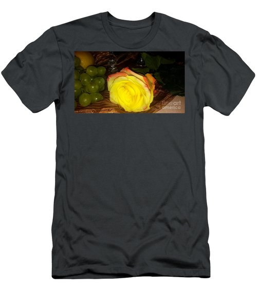 Yellow Rose And Grapes Men's T-Shirt (Athletic Fit)
