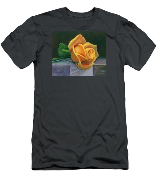 Men's T-Shirt (Slim Fit) featuring the painting Yellow Rose by Janet King