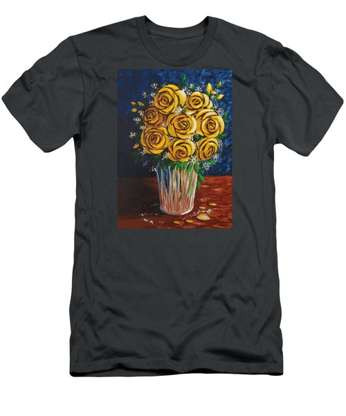 Men's T-Shirt (Slim Fit) featuring the painting Yellow Roses by Katherine Young-Beck
