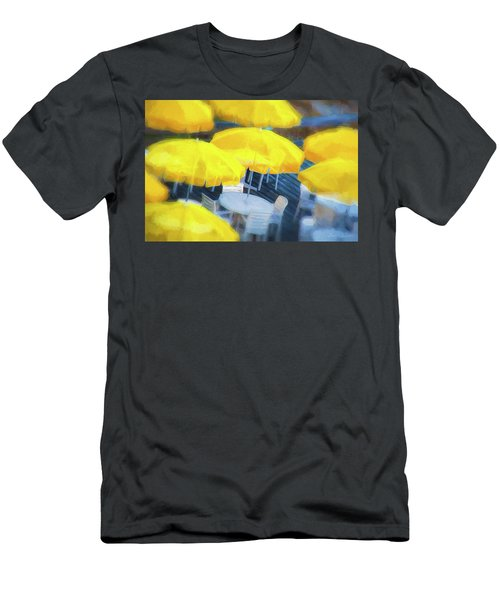 Yellow Umbrellas Men's T-Shirt (Slim Fit) by Glenn Gemmell