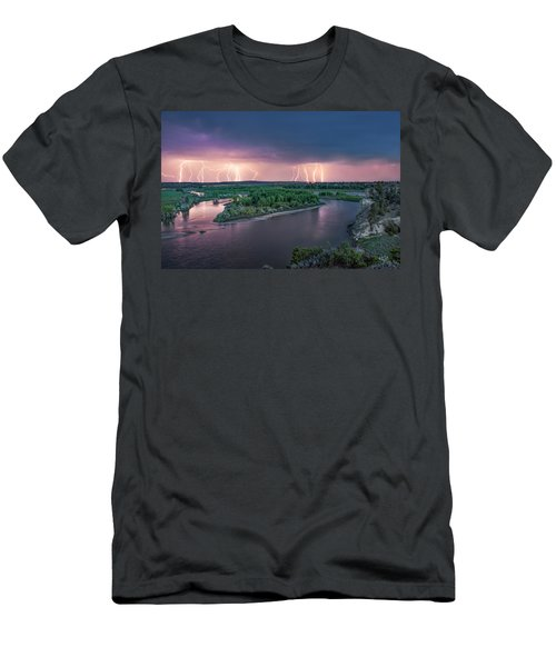 Yellowstone River Lightning Men's T-Shirt (Slim Fit) by Leland D Howard